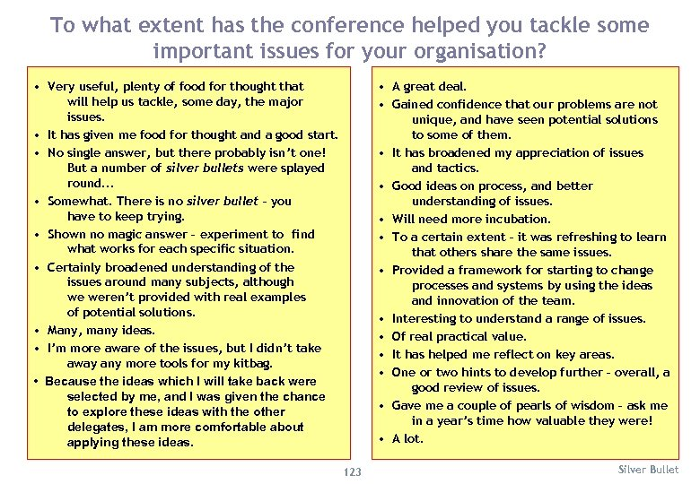 To what extent has the conference helped you tackle some important issues for your