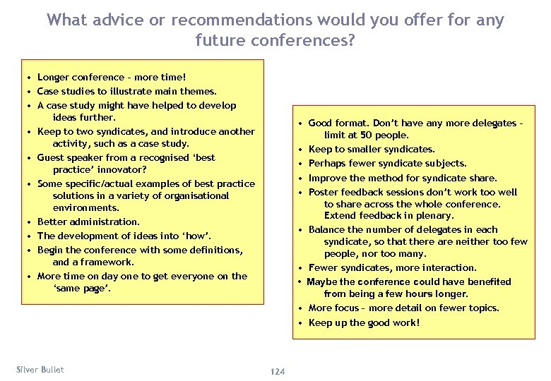 What advice or recommendations would you offer for any future conferences? • Longer conference