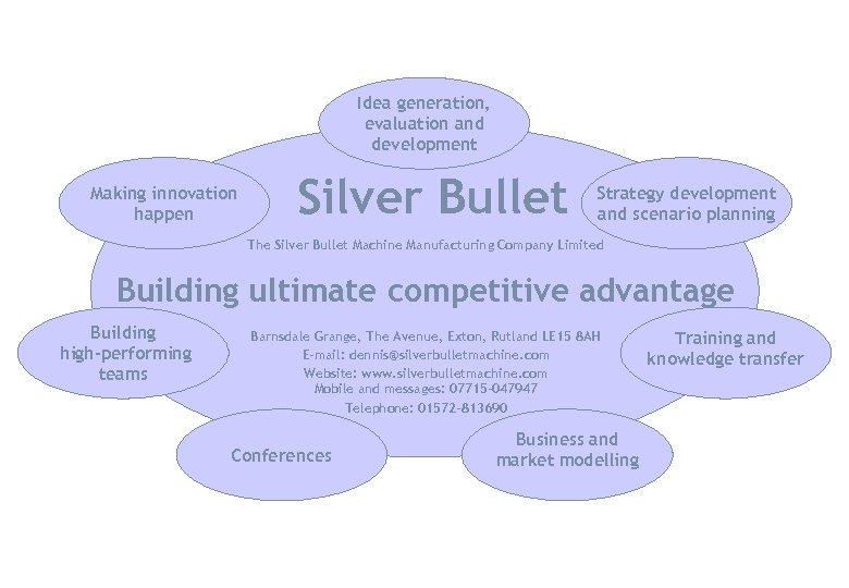 Idea generation, evaluation and development Making innovation happen Silver Bullet Strategy development and scenario