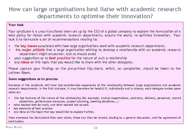 How can large organisations best liaise with academic research departments to optimise their innovation?