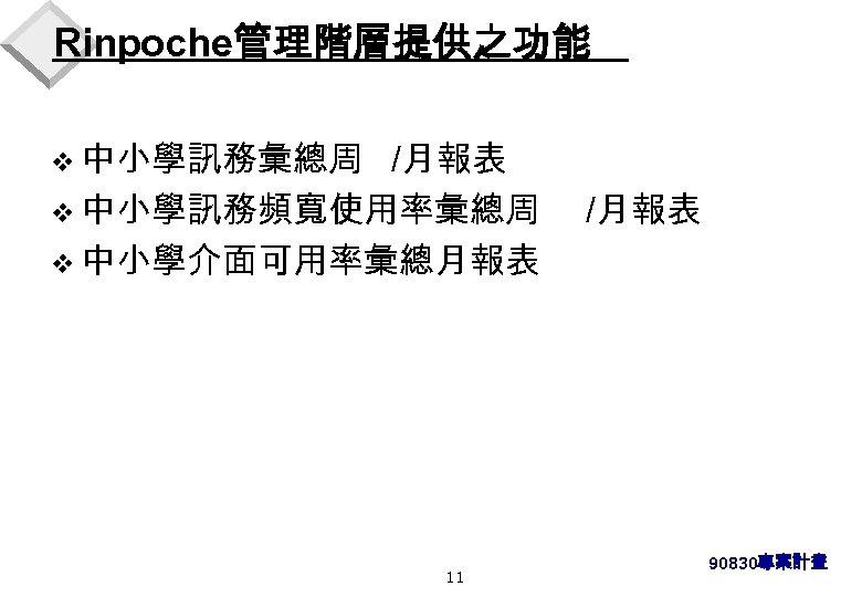 Rinpoche管理階層提供之功能 v 中小學訊務彙總周 /月報表 v 中小學訊務頻寬使用率彙總周 v 中小學介面可用率彙總月報表 11 /月報表 90830專案計畫