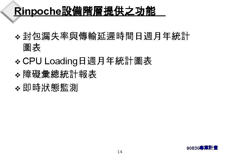 Rinpoche設備階層提供之功能 v 封包漏失率與傳輸延遲時間日週月年統計 圖表 v CPU Loading日週月年統計圖表 v 障礙彙總統計報表 v 即時狀態監測 14 90830專案計畫