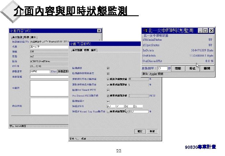 介面內容與即時狀態監測 22 90830專案計畫