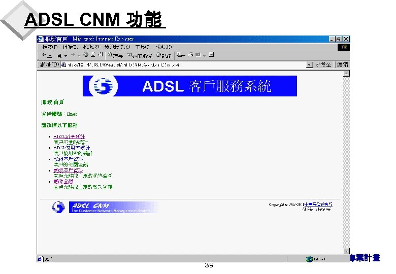 ADSL CNM 功能 39 90830專案計畫