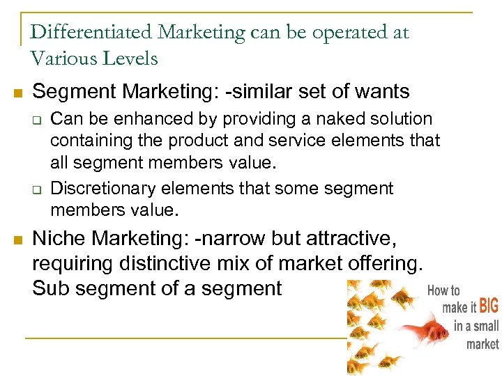 Differentiated Marketing can be operated at Various Levels n Segment Marketing: -similar set of
