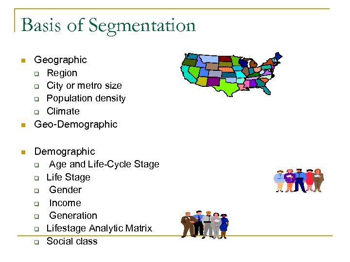 Basis of Segmentation n Geographic q Region q City or metro size q Population