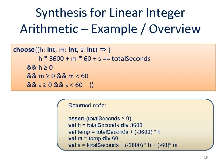 Synthesis for Linear Integer Arithmetic – Example / Overview choose((h: Int, m: Int, s: