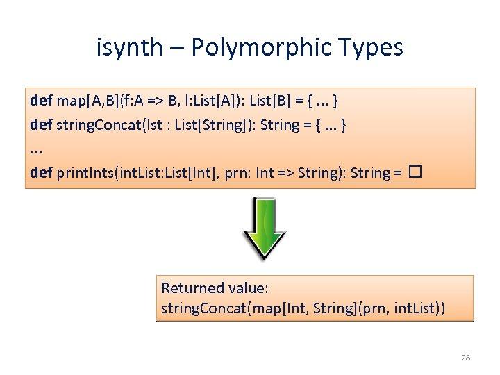 isynth – Polymorphic Types def map[A, B](f: A => B, l: List[A]): List[B] =