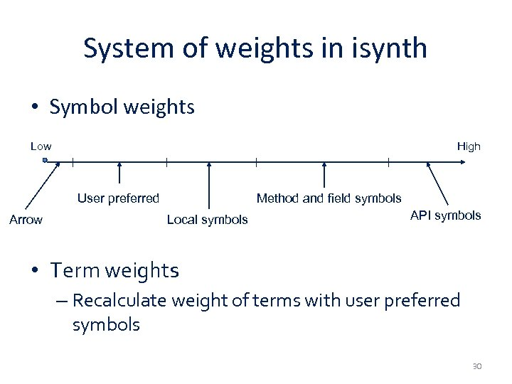 System of weights in isynth • Symbol weights Low High User preferred Arrow Method