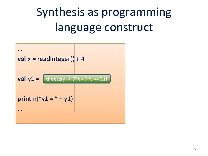 Synthesis as programming language construct … val x = read. Integer() + 4 val