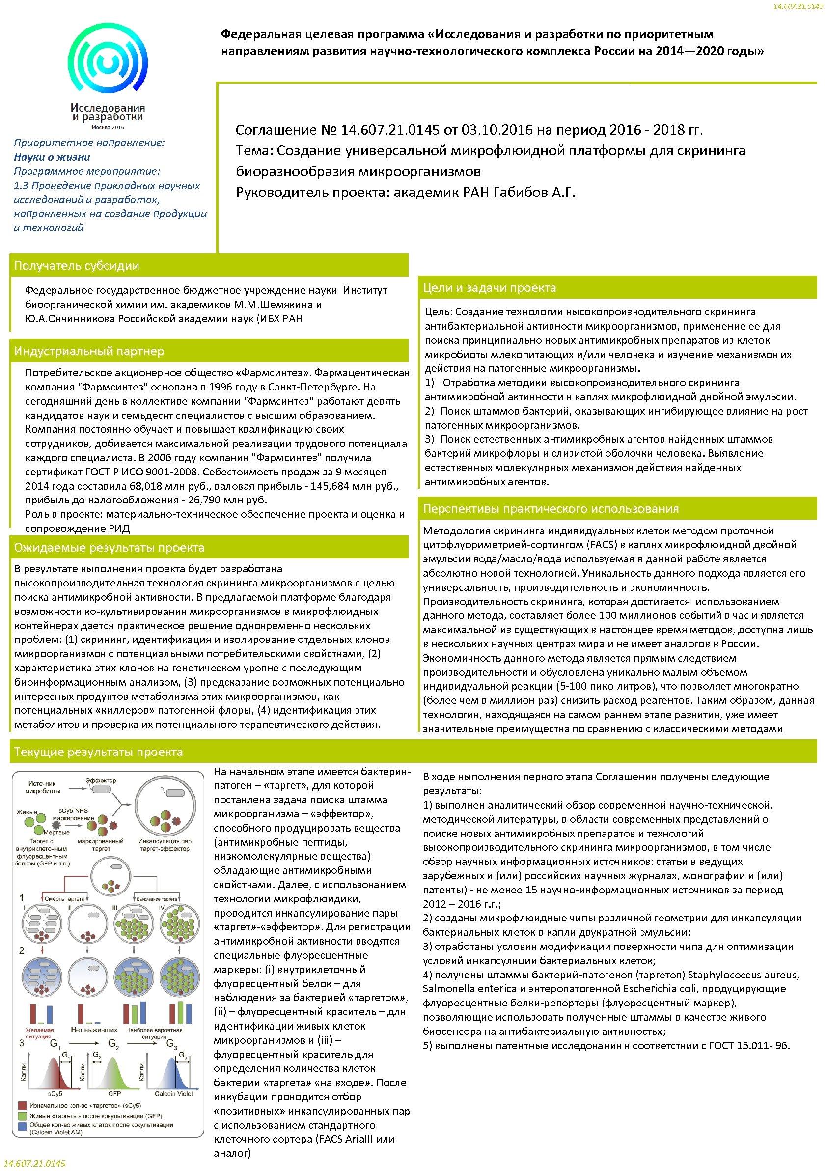 14. 607. 21. 0145 Федеральная целевая программа «Исследования и разработки по приоритетным направлениям развития