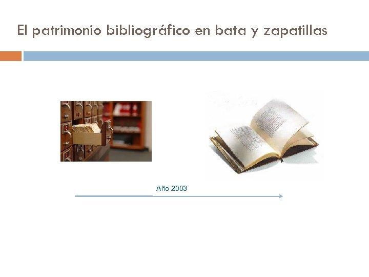 El patrimonio bibliográfico en bata y zapatillas Año 2003