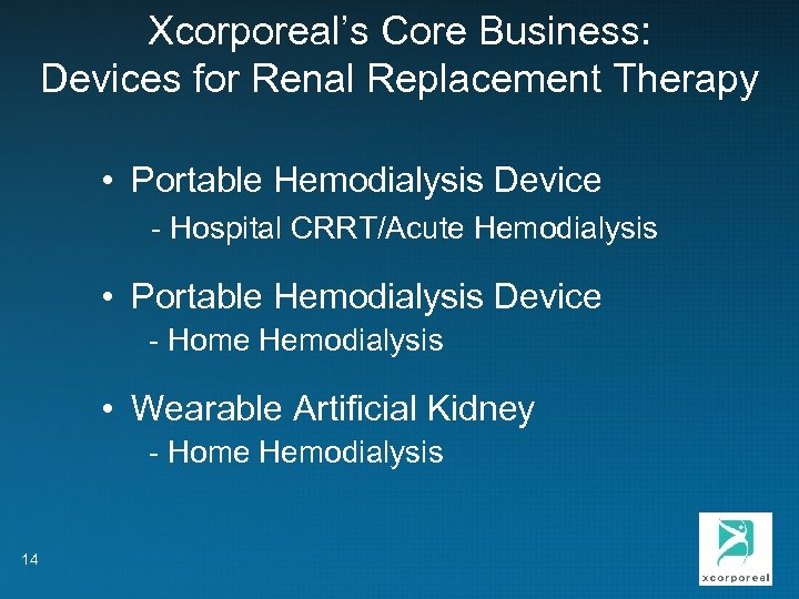 Xcorporeal's Core Business: Devices for Renal Replacement Therapy • Portable Hemodialysis Device - Hospital
