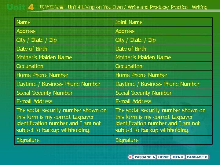 您所在位置: Unit 4 Living on You Own / Write and Produce/ Practical Writing Name