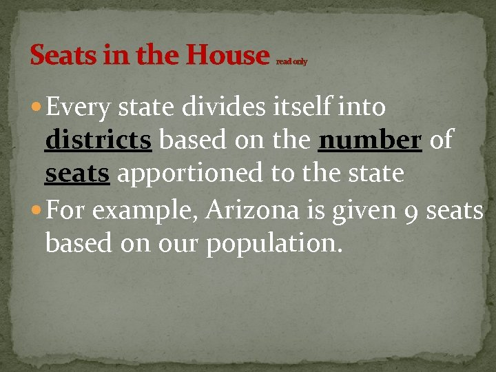 Seats in the House read only Every state divides itself into districts based on
