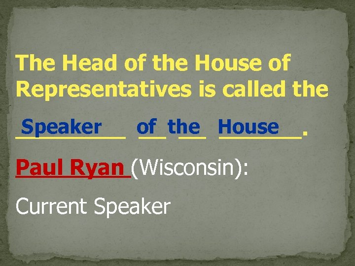 The Head of the House of Representatives is called the Speaker ____ of the
