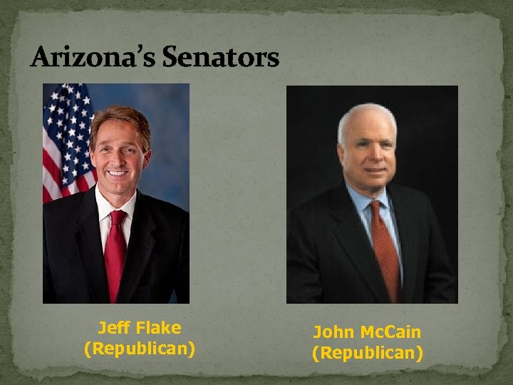 Arizona's Senators Jeff Flake (Republican) John Mc. Cain (Republican)