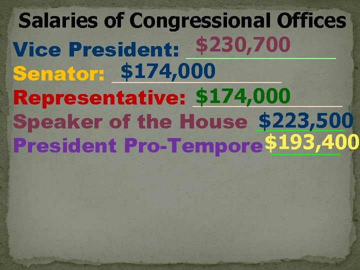 Salaries of Congressional Offices $230, 700 Vice President: ________ $174, 000 Senator: _________ $174,