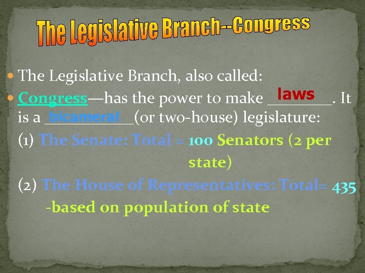 The Legislative Branch, also called: laws Congress—has the power to make ____. It