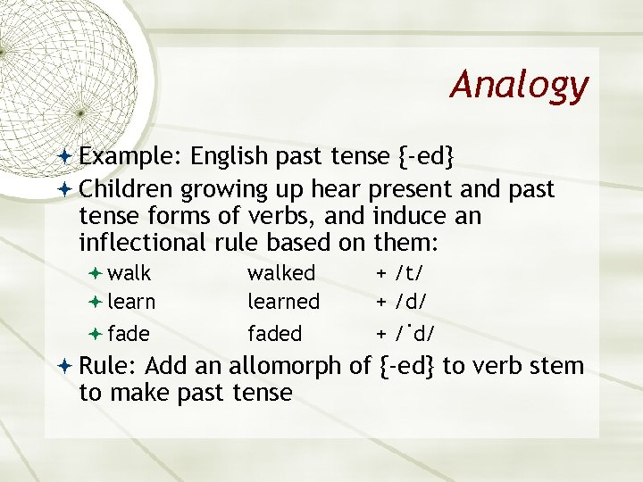 Analogy Example: English past tense {-ed} Children growing up hear present and past tense