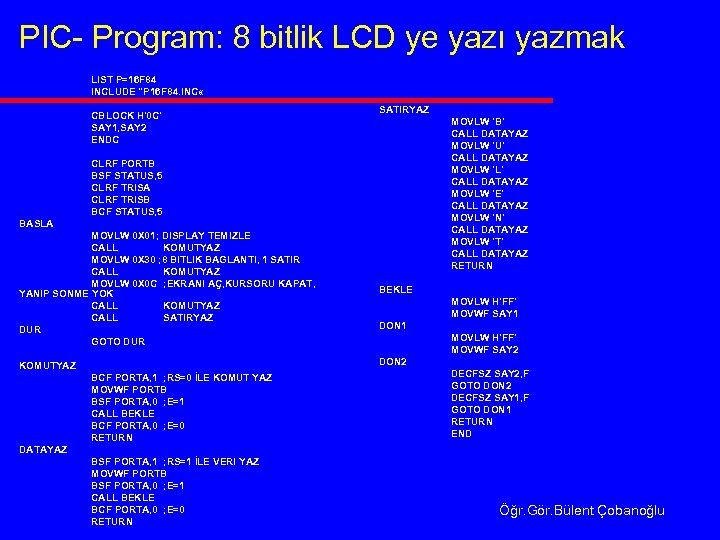 PIC- Program: 8 bitlik LCD ye yazı yazmak LIST P=16 F 84 INCLUDE