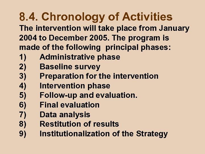 8. 4. Chronology of Activities The intervention will take place from January 2004 to