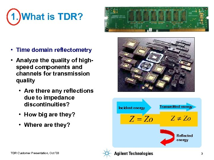 1. What is TDR? • Time domain reflectometry • Analyze the quality of highspeed