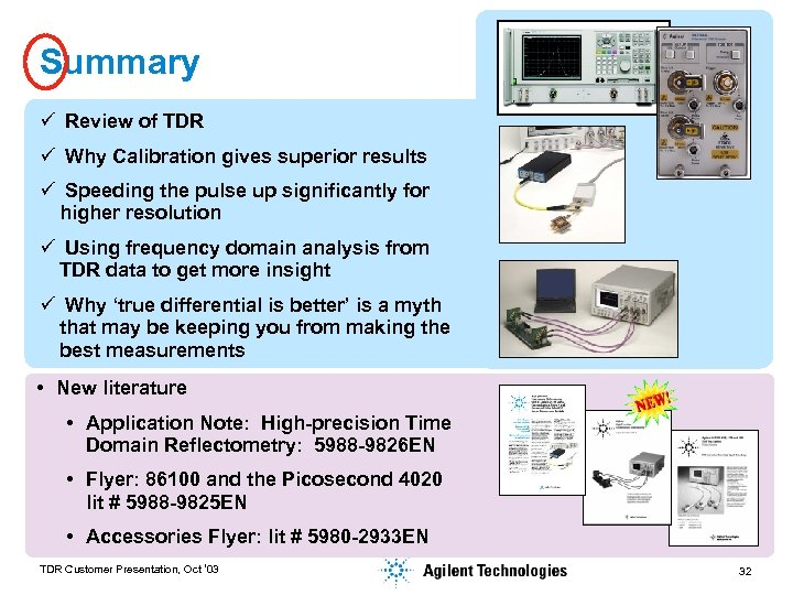 Summary ü Review of TDR ü Why Calibration gives superior results ü Speeding the