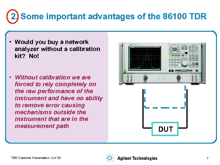 2. Some important advantages of the 86100 TDR • Would you buy a network