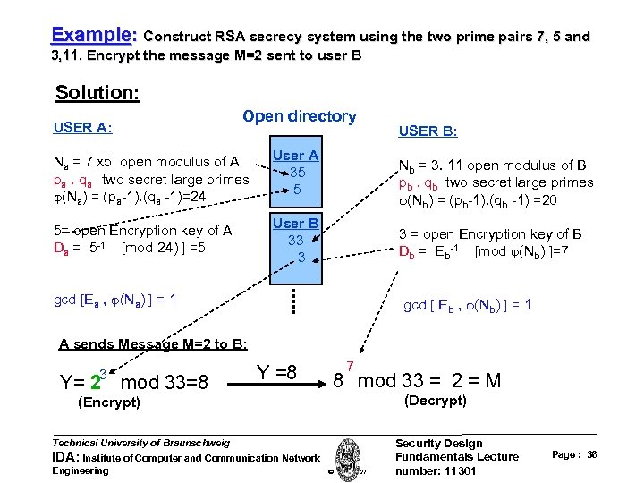 Example: Construct RSA secrecy system using the two prime pairs 7, 5 and 3,