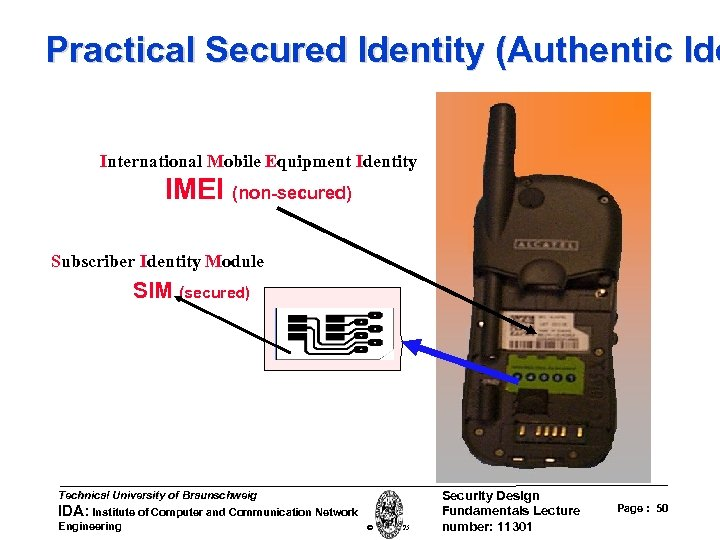 Practical Secured Identity (Authentic Ide International Mobile Equipment Identity IMEI (non-secured) Subscriber Identity Module