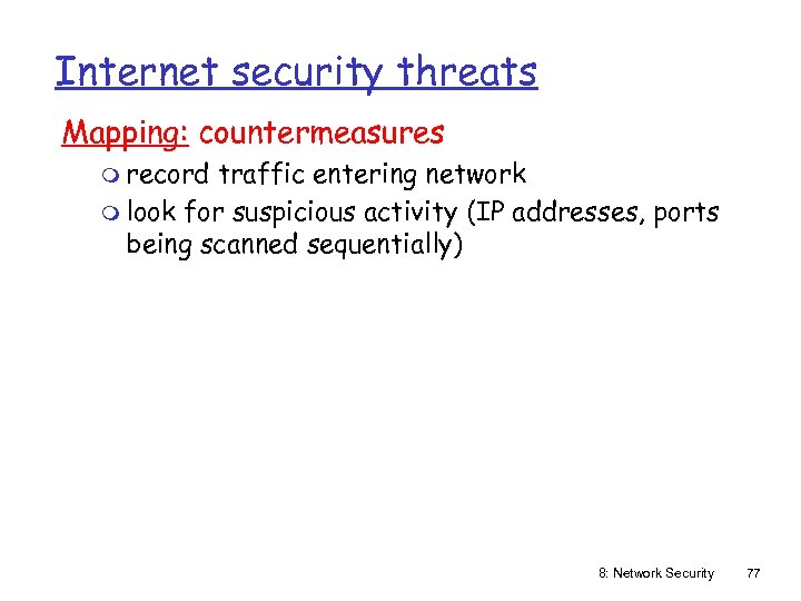 Internet security threats Mapping: countermeasures m record traffic entering network m look for suspicious