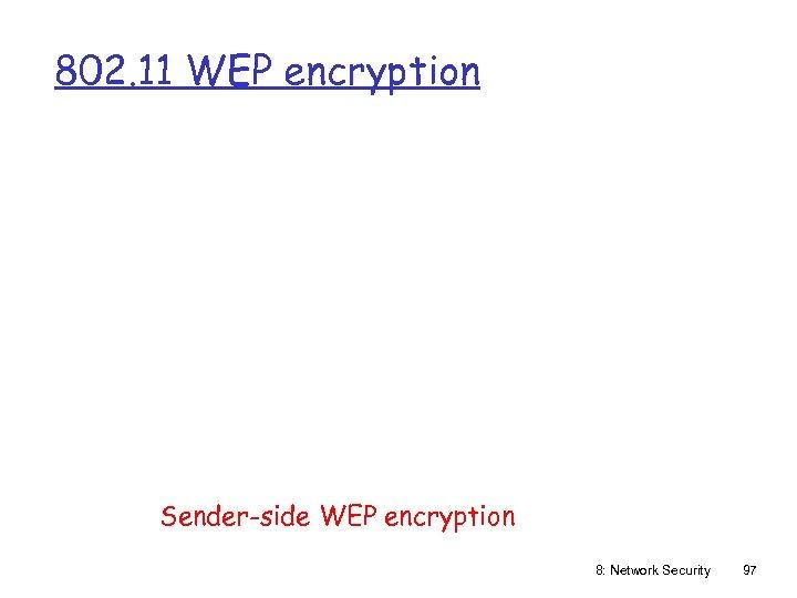 802. 11 WEP encryption Sender-side WEP encryption 8: Network Security 97