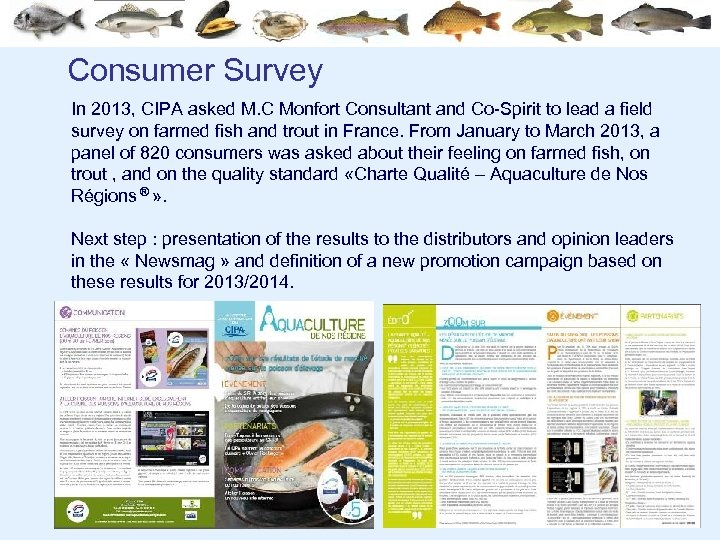 Consumer Survey In 2013, CIPA asked M. C Monfort Consultant and Co-Spirit to lead