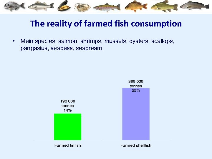 The reality of farmed fish consumption • Main species: salmon, shrimps, mussels, oysters, scallops,