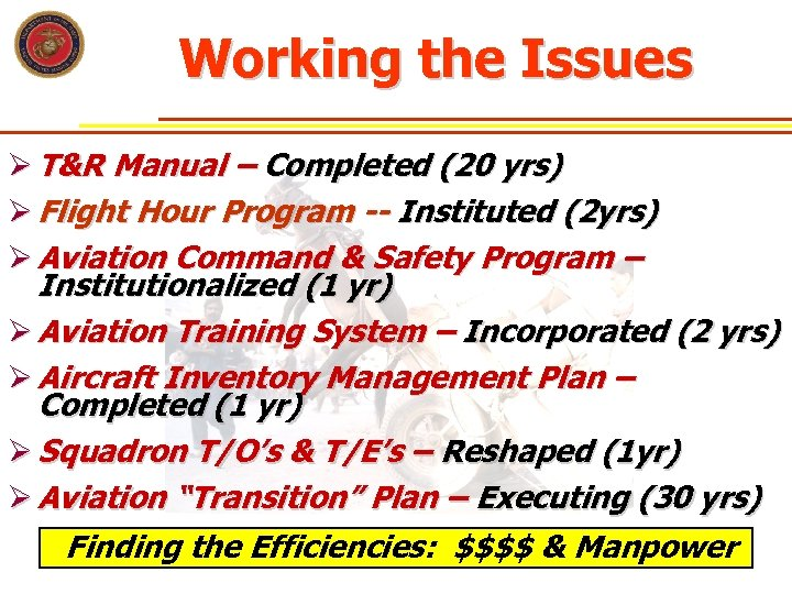 Working the Issues Ø T&R Manual – Completed (20 yrs) Ø Flight Hour Program