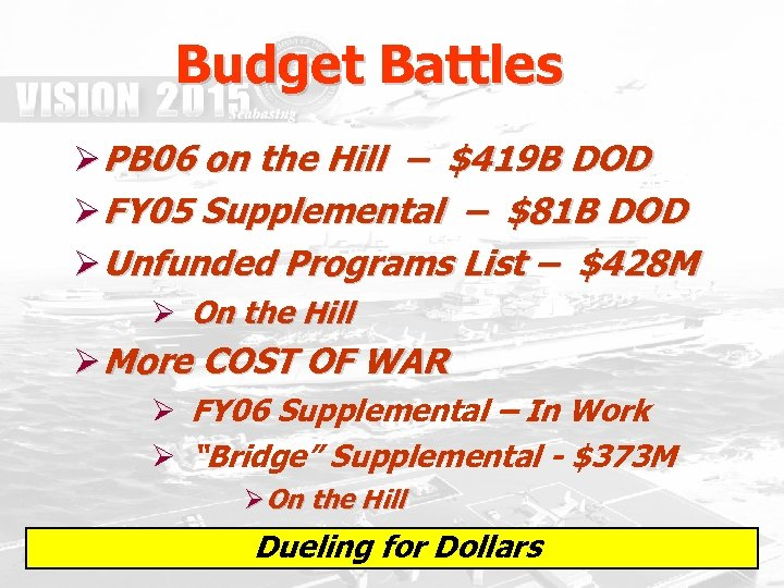 Budget Battles Ø PB 06 on the Hill – $419 B DOD Ø FY