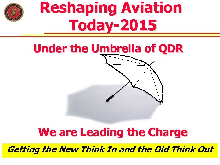Reshaping Aviation Today-2015 Under the Umbrella of QDR We are Leading the Charge Getting