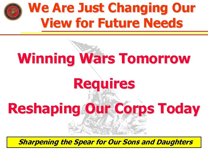 We Are Just Changing Our View for Future Needs Winning Wars Tomorrow Requires Reshaping