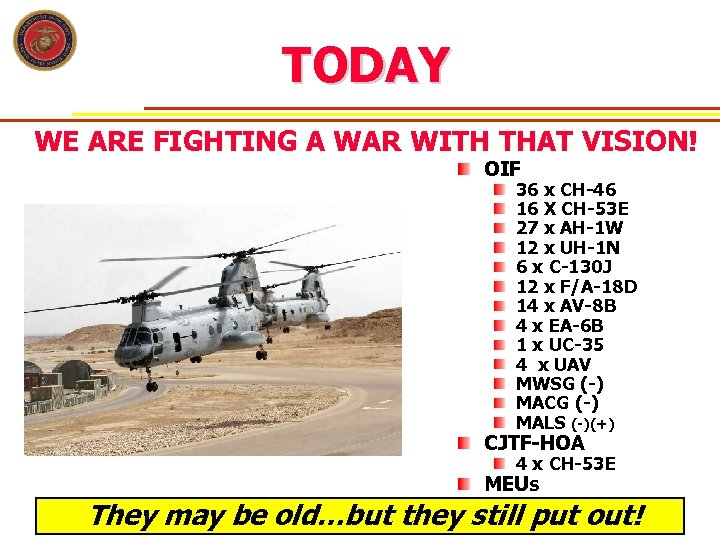TODAY WE ARE FIGHTING A WAR WITH THAT VISION! OIF 36 x CH-46 16