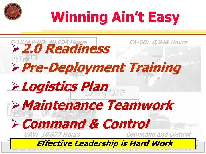 Winning Ain't Easy F-18/AV-8 B: 48, 634 Hours EA-6 B: 8, 246 Hours Ø
