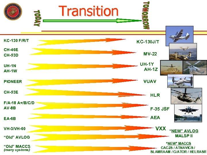 Transition KC-130 F/R/T CH-46 E CH-53 D UH-1 N AH-1 W PIONEER CH-53 E