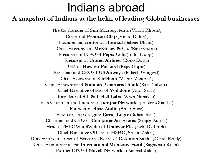 Indians abroad A snapshot of Indians at the helm of leading Global businesses The