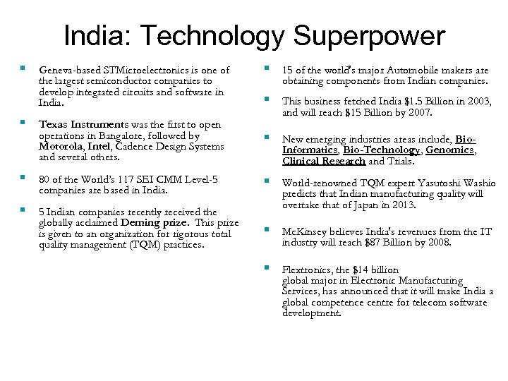 India: Technology Superpower § § 15 of the world's major Automobile makers are obtaining