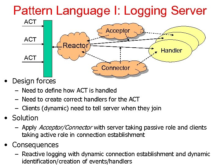 Pattern Language I: Logging Server ACT Acceptor ACT Reactor Handler ACT Connector • Design