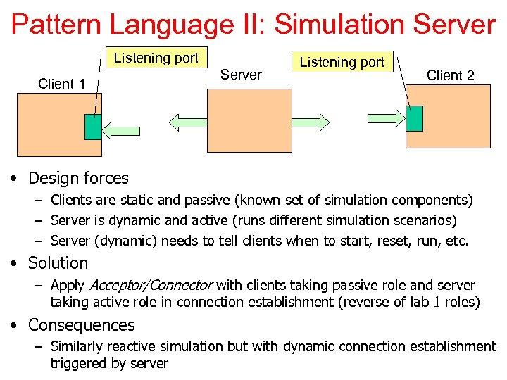 Pattern Language II: Simulation Server Listening port Client 1 Server Listening port Client 2