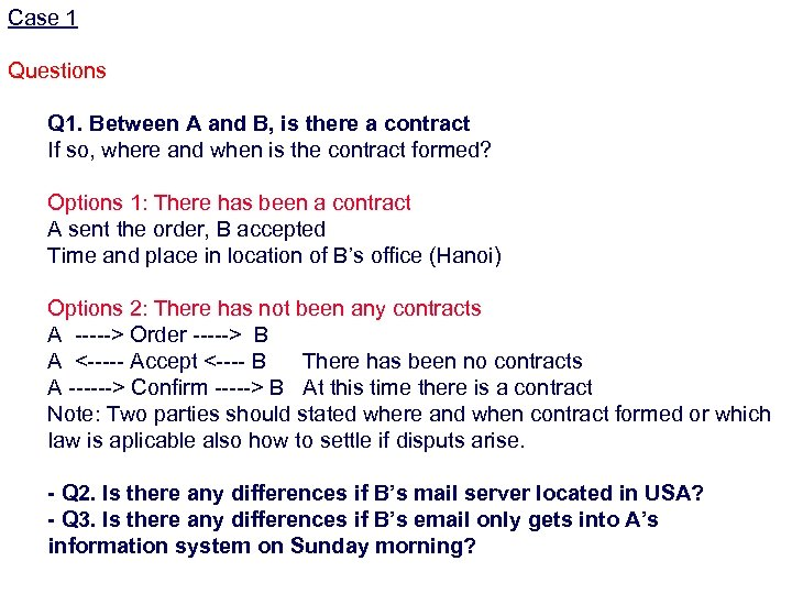 Case 1 Questions Q 1. Between A and B, is there a contract If