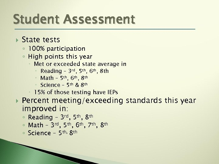 Student Assessment State tests ◦ 100% participation ◦ High points this year Met or