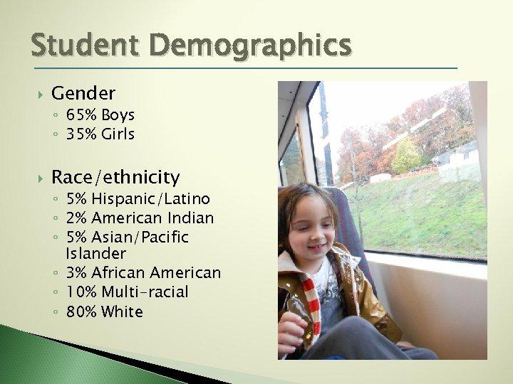 Student Demographics Gender ◦ 65% Boys ◦ 35% Girls Race/ethnicity ◦ 5% Hispanic/Latino ◦