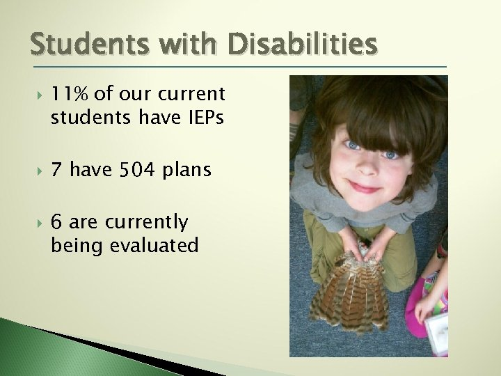 Students with Disabilities 11% of our current students have IEPs 7 have 504 plans